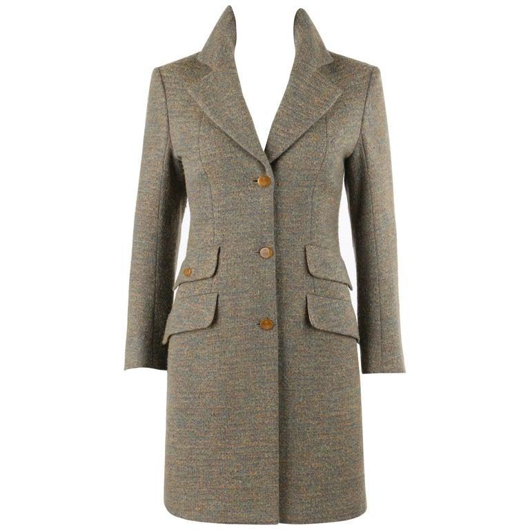 VIVIENNE WESTWOOD Red Label S/S 1999 Tweed Wool Tailored Princess Coat Jacket For Sale