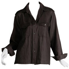 1970s Yves Saint Laurent Vintage Black Linen Safari Button Up Blouse/ Top/ Shirt