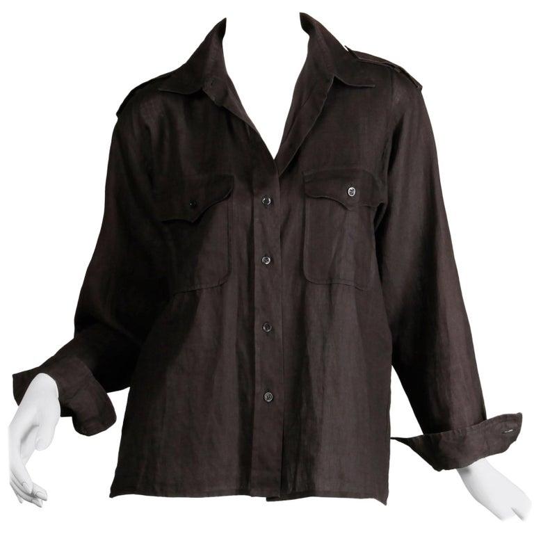 1970s Yves Saint Laurent Vintage Black Linen Safari Button Up Blouse/ Top/ Shirt For Sale