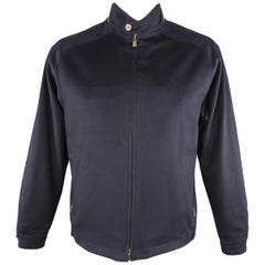 LORO PIANA XL Navy Cashmere High Button Collar Storm System Bomber Jacket