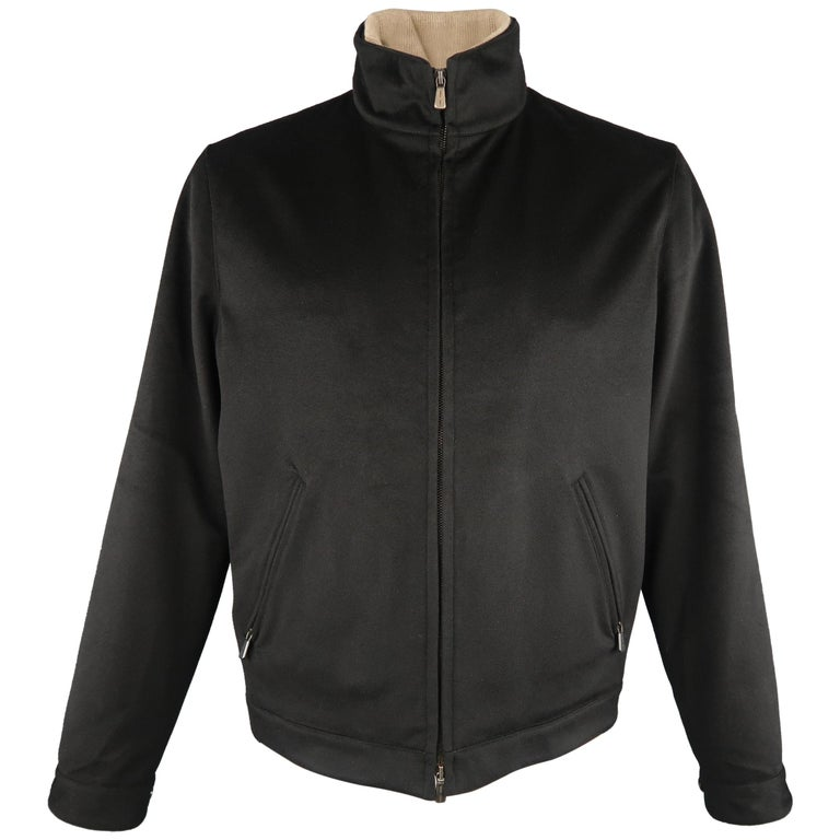 Men's LORO PIANA XL Black Cashmere High Collar Storm System Bomber Jacket For Sale