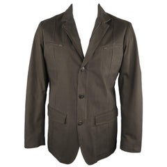 Men's LORO PIANA 42 Dark Taupe Twill Detachable Liner Military Jacket