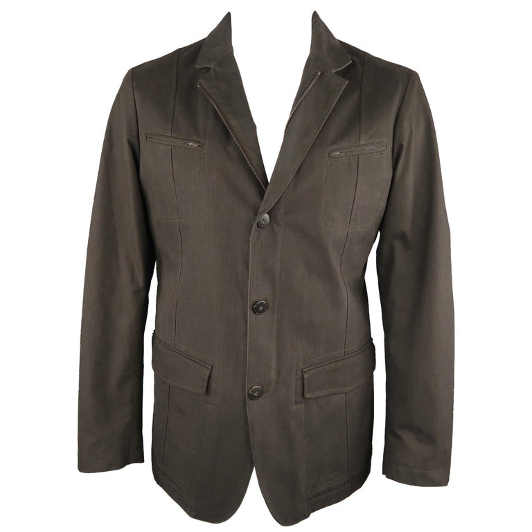 Men's LORO PIANA 42 Dark Taupe Twill Detachable Liner Military Jacket For Sale
