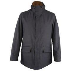 Men's LORO PIANA L Navy High Collar Storm System Coat