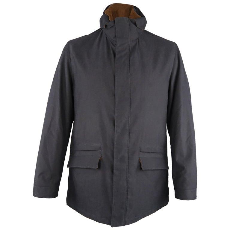 Men's LORO PIANA L Navy High Collar Storm System Coat For Sale