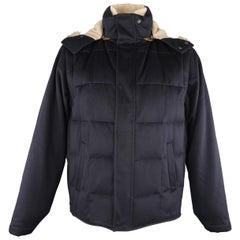 Men's LORO PIANA XL Navy Quilted Cashmere Detachable Fur Lined Hood Jacket
