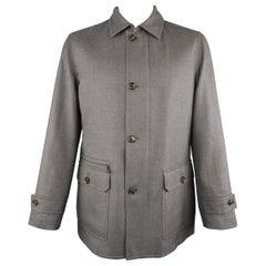 ERMENEGILDO ZEGNA L Gray Cashmere / Silk Collared Button Placket Car Coat