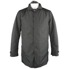 EREDI PISANO L Black Collared 2 in 1 Detachable Liner Car Rain Coat