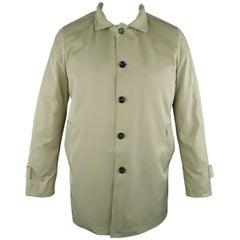 EREDI PISANO L Khaki Cotton Twill Zip Hood Detachable Liner Rain Coat