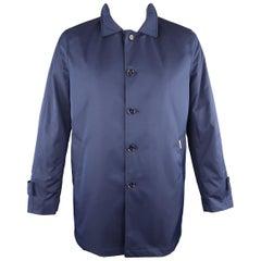 EREDI PISANO L Navy Cotton Twill Zip Hood Detachable Liner Rain Coat