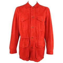 VALSTAR 42 Red Suede Four Pocket Drawstring Waist Coat