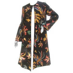 Mary McFadden Quilted Cotton Birds of Paradise Duster Coat circa 1970s