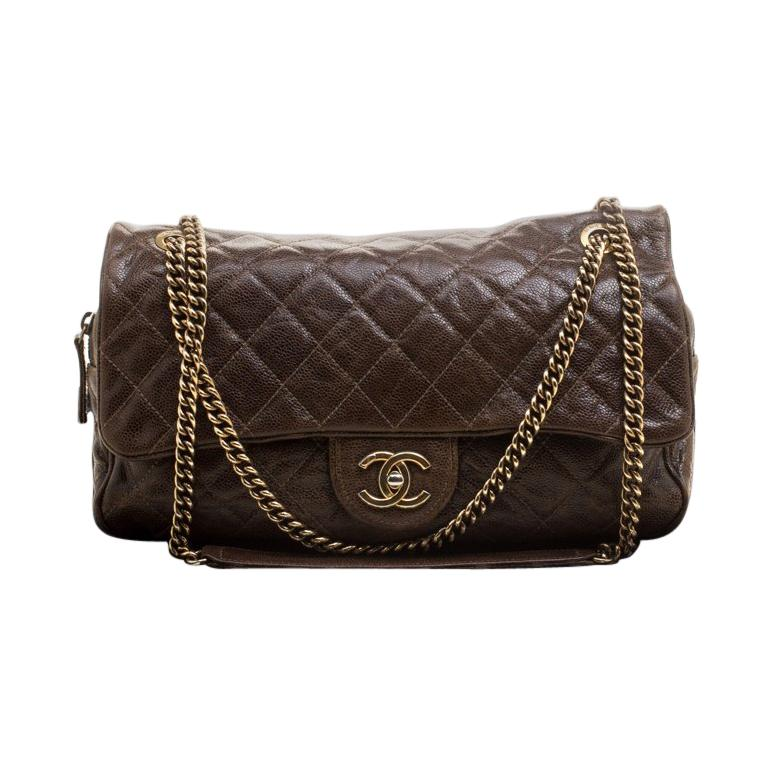 e67d82ae3288fe Chanel Brown Quilted Glazed Leather Large Shiva Flap Bag at 1stdibs
