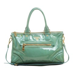 Prada Green Patent Leather Satchel