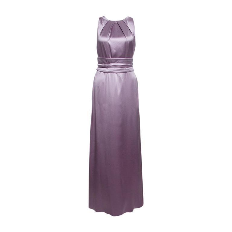 1950e67ed7 CH Carolina Herrera Purple Silk Satin Belted Sleeveless Gown M For Sale