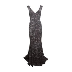 Moschino Couture Grey Sequin Print Sleeveless Maxi Dress M