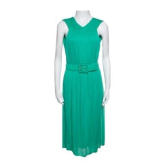 Gucci Mint Green Pleated Sleeveless Belted Dress M