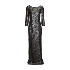 Gucci Metallic Animal Pattern Lurex Jacquard Long Sleeve Gown S