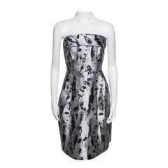 CH Carolina Herrera Silver and Black Floral Jacquard Strapless Dress S