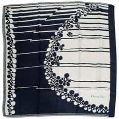 Christian Dior Modernist Square Silk Foulard Scarf, 1960s