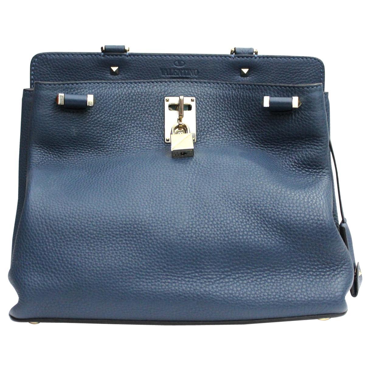 Valentino  Blue Leather Joy Lock Shoulder Bag