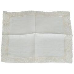 New Belgian Lace and Linen Handkerchief – Original Package, 1950s