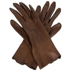 Chocolate Kidskin Gauntlet-Length Dress Gloves, 1950s