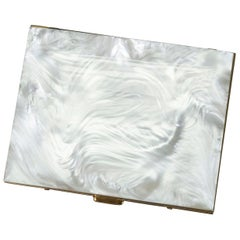 Mother of Pearl Cigarette Case with Machined Deco Interior, 1960s