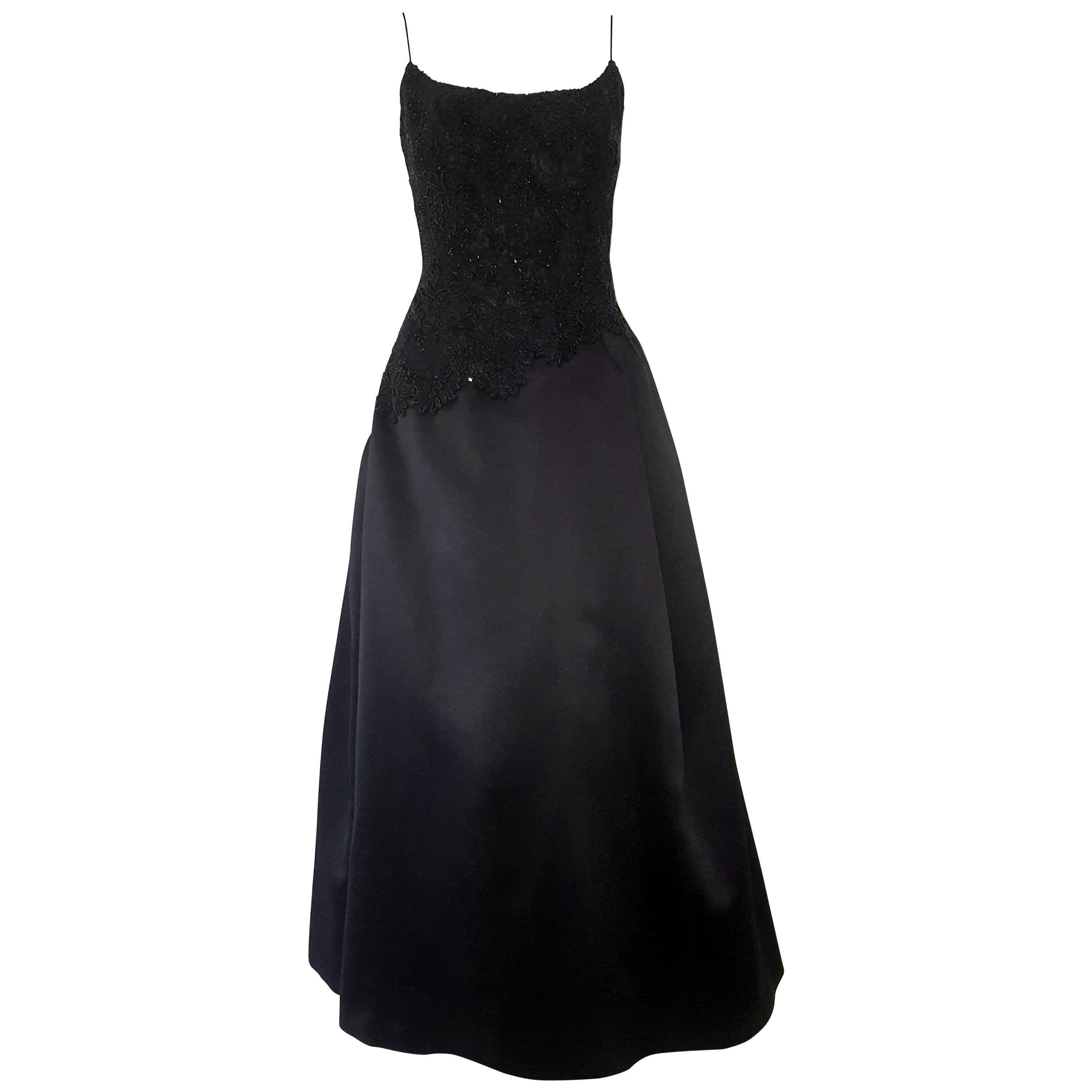 Carmen Marc Valvo Black Beaded Bodice With Black Satin Skirt