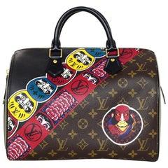 Louis Vuitton LV 2017 Limited Edition Monogram Kabuki Leather Speedy 30 Bag