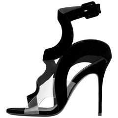 Giuseppe Zanotti NEW Black Suede Cut Out Clear PVC Evening Sandals Heels in Box