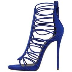 825b7b44a117 Giuseppe Zanotti NEW Blue Suede Gladiator Evening Evening Sandals Heels in  Box