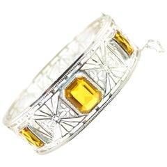 Art Deco Nu-Wite Rhodium & Amber Crystal Spiderweb Filigree Cuff Bracelet