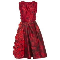 New Oscar De La Renta  3-D Floral Jewel Embellished and Embroidered Dress US 8