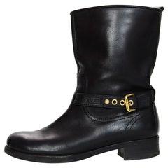Louis Vuitton Black Leather Short Moto Boots w/ Strap & Buckle Sz 40