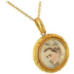 Victorian Gilded Portrait Pendant Necklace 1880s