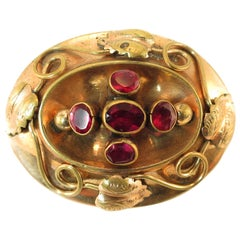 Victorian 10k Gold & Garnet Hollow-ware Brooch 1860s