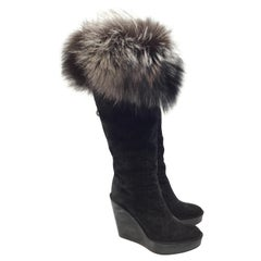Christian Dior Cannage Suede Boots with Fox Fur