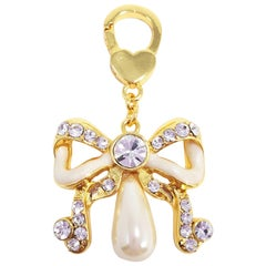 Jay Strongwater Faux Pearl Bow Charm in Gold, with Enamel and Crystals