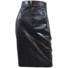 Ralph Lauren Collection Leather Skirt with Croc Design