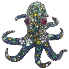 KJL Kenneth Jay Lane Pave Green and White Crystal Octopus Brooch