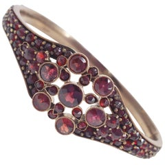 Antique Victorian Pave Garnet Hinged Bangle Bracelet in Sterling Silver