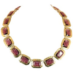 Mid-Century Modern Amethyst Glass Hand-Hammered Linked Collar Necklace 1960s