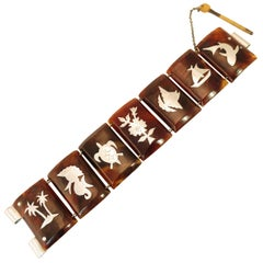 Mid-Century Modern Inlaid Carved Shell Bracelet, South Pacific 1950s