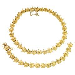 Mid-Century Modern Castlecliff Geometric Necklace & Bracelet Suite 1960s