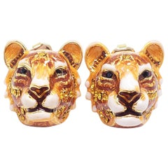 "Jay Strongwater ""Call of the Wild"" Enamel Tiger Head Post Earrings in Gold"