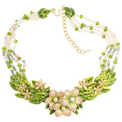 "Jay Strongwater ""Spring Blossom""  Enamel, Crystal and Simulated Pearl Necklace"
