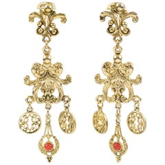 Zoe Coste Paris Gilt Metal Baroque Dangling Clip on Earrings