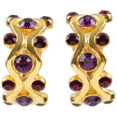 Yves Saint Laurent YSL Paris Clip Earrings Gilt Metal Purple Red Rhinestones
