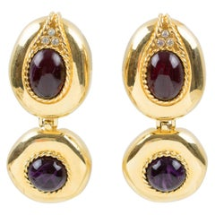 Givenchy Paris Signed Clip-on Earrings Dangling Gilt Metal Large Glass Cabochons